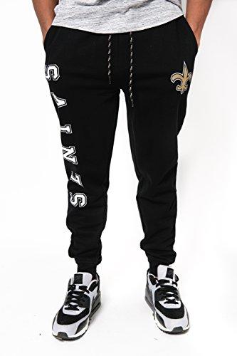 Ultra Game NFL New Orleans Saints Mens Active Basic Jogger Fleece Pants, Team Color Stripe, Large