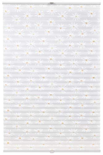 Estor plisado Klemmfix a medida para todas las ventanas, montaje hasta 27 mm, sin agujeros, diseño de flores, color blanco, ancho 41-50 cm, altura 101-150 cm