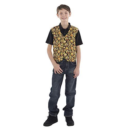 Dress Up America- Gilet imprimé Emoji pour Enfants-Taille Moyenne (8-10 Ans) Costume pour bébés et Bambins, Printed Vest for Kids by Dress Up, Multicolore, 76-82, Hauteur: 114-127cm
