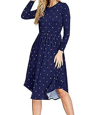 PRIMODA Women's Long Sleeve Grid Tunic Midi Dress Casual Empire Waist Plaid Knee Length Dresses with Pockets