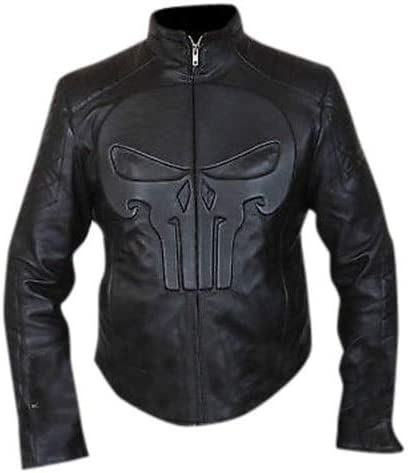 Outfitter Lambskin Skull Black Jacket for Men-Biker Collar-Punisher Padded Embossed-Zipper-Lightweight Leather Jacket