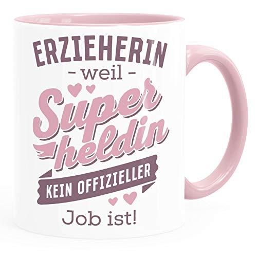 SpecialMe® Taza de café [profesional] porque Superhéroe no un trabajo oficial es personalizado con el nombre pequeño regalo educativo taza de cerámica rosa
