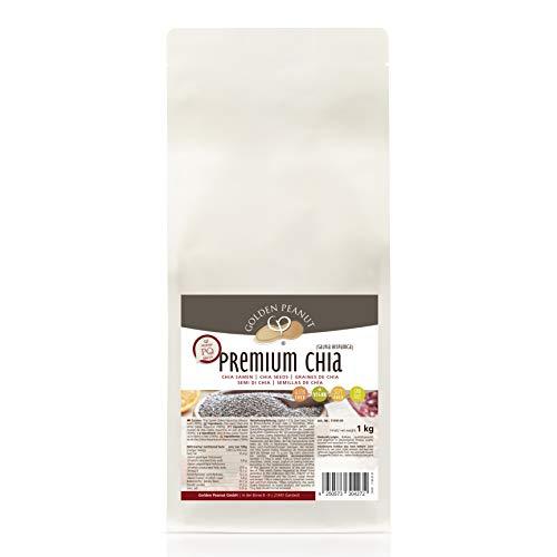 Premium Chia Samen 1 kg  schwarz-weiß   Salvia Hispanica   viele Quellstoffe  geprüfte Qualität   allergenfrei   glutenfrei   Vegan   Golden Peanut