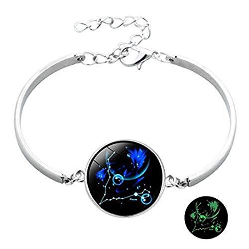 yichahu Pulsera luminosa de 12 constelaciones con gemas de tiempo, pulsera de cuero para hombres, mujeres, niños, niñas, accesorios de joyería de regalo (11)
