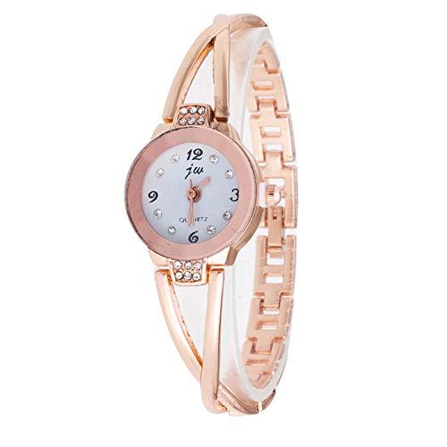 Reloj de pulsera para mujer, de lujo, analógico, de cuarzo, con diamantes de imitación, resistente al agua, movimiento de cuarzo, diseño elegante para trajes formales e informales (oro rosa).