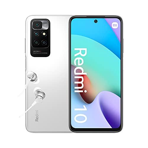 Xiaomi Redmi 10 - Smartphone 4+64 GB, 6,5' FHD+ 90 Hz DotDisplay, MediaTek Helio G88, 50MP cámara cuádruple con IA, 5000 mAh, Blanco Guijarro (Versión ES + 2 años de garantía)