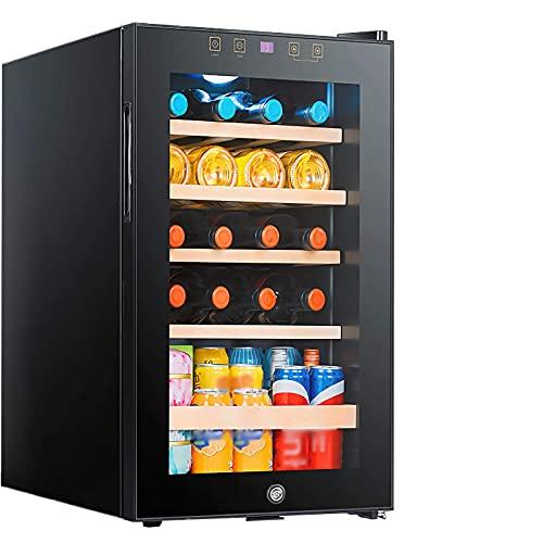 JLKDF Refrigerador Enfriador de Vino con compresor de 19 Botellas con Cerradura, Gran Bodega Independiente, refrigerador para Bebidas en la encimera, estantes Ajustables de Madera de Hay