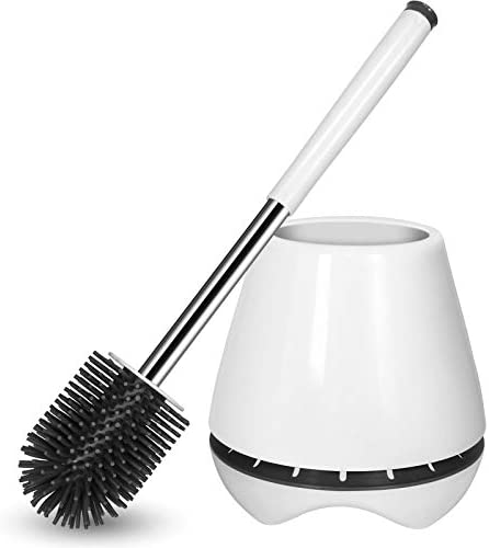 Toilet Brush and Holder Silicone Toilet Bowl Brush Bathroom Cleaning Bowl Brush Kit with Tweezers product image