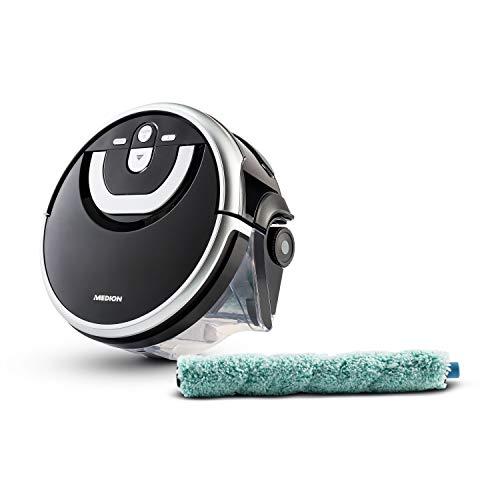 MEDION Wischroboter mit Wassertank (intelligenter Navigation, 80 Min, Bodenreiniger mit Walze für Holzboden Hartboden Parkett, getrennter Schmutzwassertank/Frischwassertank, MD 18379) schwarz