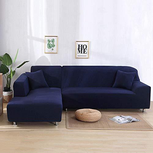Volwco Sofabezug, L-Form, 2 Stück, einfarbig, Sofabezug, 3-Sitzer, Stretch Sofa, Schonbezüge mit 16 Schaumstoffstäbchen, universell dehnbar, Polyester-Gewebe Marineblau