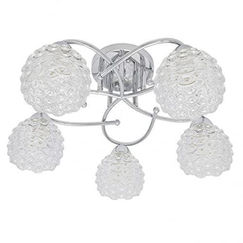 Lampara BAGAN 5 luces con tulipa de cristal, Cromo 23x49x49 Fabrilamp