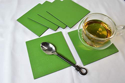 Set van 6 grote vierkante salie groene lederen onderzetters gemaakt in het Verenigd Koninkrijk, mok beker dranken matten
