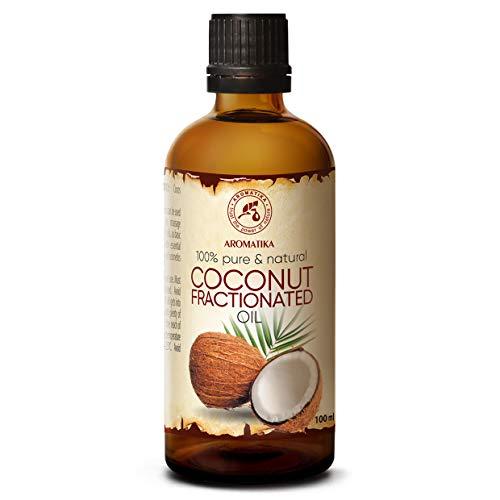Huile de Noix de Coco Fractionnée 100ml - 100% Pure et Naturelle - Excellents Bienfaits pour la Peau - Lèvres - Cheveux - Visage - Corps - Utilisé Aromathérapie - SPA - Détente - Bain - Massage