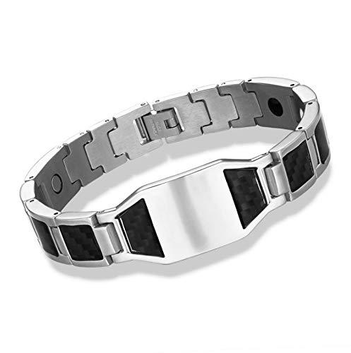 YZWD Magnetisches Therapie-Armband Titan Magnetarmband Für Arthritis Schmerzlinderung Classic Carbon Brazed Strap Magnetisches Armband 20 cm