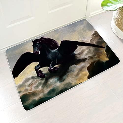kikomia Felpudo, suave franela, diseño de caballo oscuro con alas de nubes impresas, para interior y exterior, color blanco, 45 x 70 cm