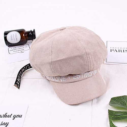 mlpnko Weibliche Wildleder englisches Alphabet achteckigen Hut Mode britische Zeitung Junge Hut beige 56-58cm