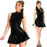 Liangzhou Women Sexy Latex Dress Zipper Front Leather Lingerie Clubwear Latex Costume Bodycon Party Dresses Black