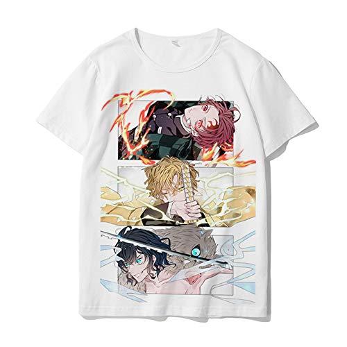 Anime Camicie per Uomo Graphic Demon Slayer Zenitsu Cosplay Camicie Bianche per Bambini e Adulti, T-Shirt a Manica Corta da Donna Estiva
