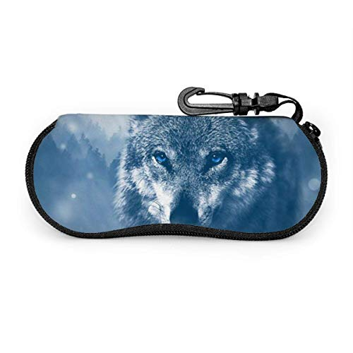 Funda Gafas Animal depredador lobo Neopreno Estuche Ligero con Cremallera Suave Gafas Almacenaje