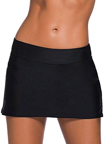 Aleumdr Damen Baderock figuroptimierender Strandrock UV Schutz Wassersport Bikinirock Badeshorts Skorts Black Schwarz Large