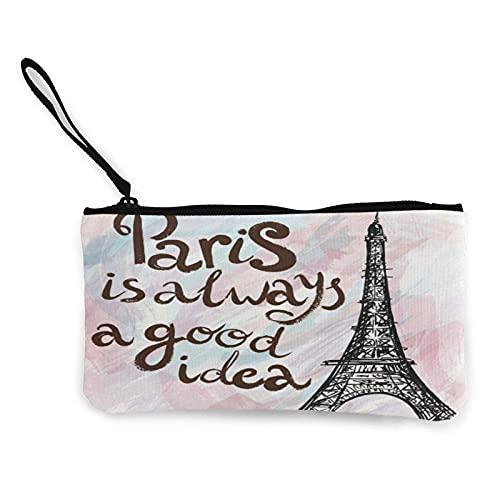 Lawenp Monedero Torre Eiffel París Mármol Rosa Lona Bolsa de Dinero Bolsa de Mano Monedero Estuche para Tarjetas de artículos de tocador