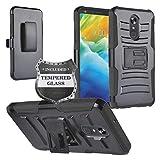 Z-GEN - for LG Stylo 5 - Hybrid Armor Phone Case w/Stand/Belt Clip Holster + Tempered Glass Screen Protector - CV1 Black