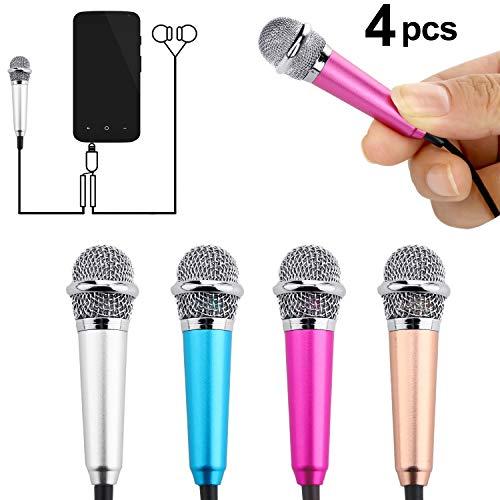 4 Stücke Mini Mikrofon Tragbar Vokal Mikrofon Mini Karaoke Mikrofon für Handy Laptop Notebook, 4 Farben