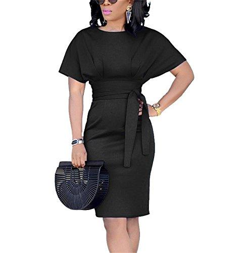 Beautife Womens Work Pencil Midi Dress Casual Summer Short Sleeve Bodycon Dresses with Belt