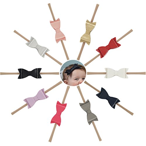Ncmama Artificial Leather Bows Nylon Elastic Baby Girls Headband for Newborn Infant Toddler Hairband Pack of 10
