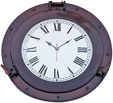 Reloj de ojo de buey de cobre antiguo de 15 pulgadas, decoración de agujero de puerto, ojo de buey