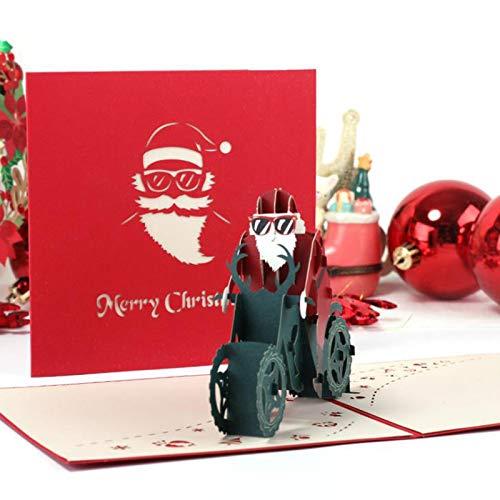 Weihnachts 3D Dreidimensionale Grußkarte Neue Hohle Papierskulptur Postkarte 15 * 15 cm /2 Weihnachtsmotorräder