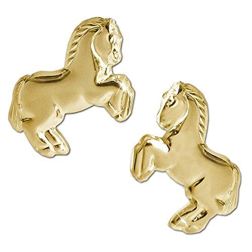 Clever Schmuck Goldene Ohrringe als Ohrstecker großes Pferd 12 x 8 mm springend glänzend Rückseite hohl 333 GOLD 8 KARAT