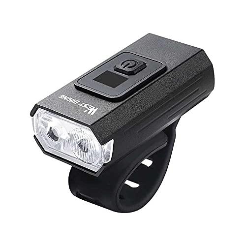 junmo shop Luces de bicicleta recargables por USB, 350 lúmenes, luz frontal de bicicleta, resistente al agua, con 4 modos de luz para bicicleta de carretera y montaña