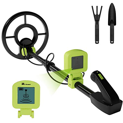 RM RICOMAX Metal Detector for Kids - Kids Metal Detector with LCD Display & Buzzer IP68 Waterproof & 2 Lb Lightweight Best Gift for Kids 24 to 35'' Foldable & Adjustable Kids Metal Detector, Green