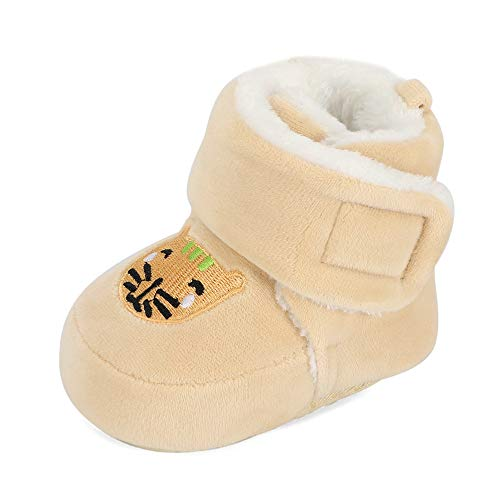 Matt Keely Baby Jungen Mädchen Cartoon Anti-Rutsch Weiche Sohle Dicke Hausschuhe Booties Säugling Krippe Schuhe für Kleinkind Crawler Winterstiefel mit Plüschfutter, Beige - beige - Größe: 6-12 Monate