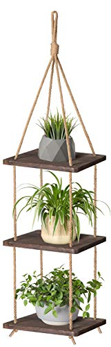 Mkono Wood Hanging Planter Shelf Plant Hanger 3 Tier Decorative Flower Pot Rack with Jute Rope Home Decor, 43 Inch