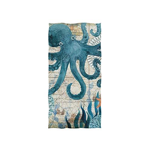 JIRT Baño de Invitados Decoración Absorbente Multiusos Retro Ocean May Octopus 15x30 Inch Hand Towel Luxury