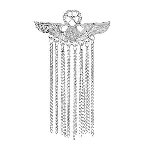 SHUJIA Metal ala de Cinco Estrellas Broche Medalla Tassel Insignia Pines y broches de Lujo Traje de Hombre Camisa Cuello Ropa Joyería