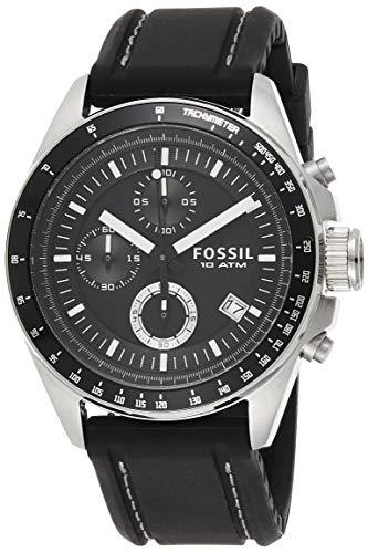 Fossil Herren Chronograph Quarz Uhr mit Silikon Armband CH2573