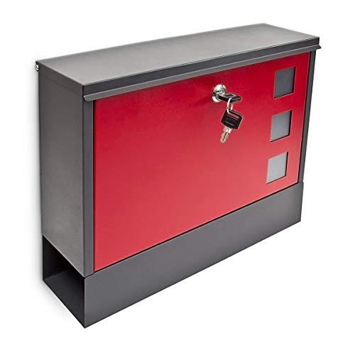 Design Briefkasten Metall 36x30cm Schwarz-Rot