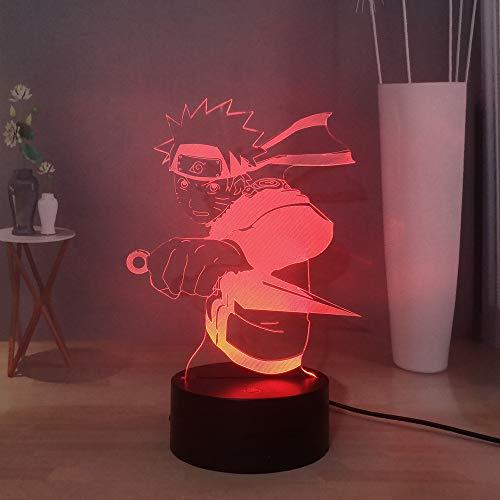 Laysinly Naruto Schreibtischlampe, japanische Anime-Figuren, LED-Nachtlicht für Kinder, Uzumaki Naruto Take Shuriken 3D-Acryl-Tischlampe, Kinderschlaf-Nachtlampe, Kindergeburtstag, Weihnachtsgeschenk