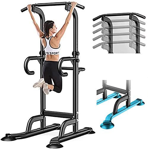 PCAFRS Power Tower Dip Station, Power Tower Pull Up Dip Station, Pull Up Bar Stand for Home Gym Strength Training Exercise Workout Equipment, Adjustable-10 Levels, 330LBS