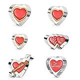 Olywee, set di 6 formine per biscotti a forma di cuore, in acciaio inox, decorazione per torte, per matrimoni, anniversari, fidanzamenti, feste a tema