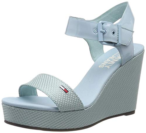 Hilfiger Denim Damen Material Mix Wedge Sandal Plateausandalen, Blau (Canal Blue 446), 39 EU