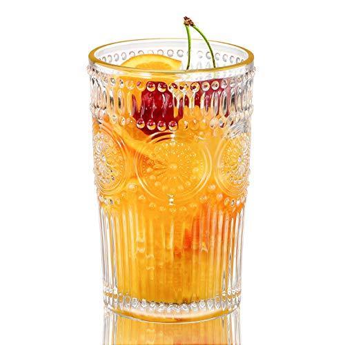 KAMEUN Vasos de Agua 350ml / 35cl, Transparente Sin Plomo Vasos de Cristal – Diseño Vintage – Vaso de Whisky Para Jugo, Bebidas, Cerveza