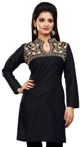 MapleClothing Lange indischen Tunika Top Tunika Damen Seidenbluse Indien Kleidung (Schwarz, L)