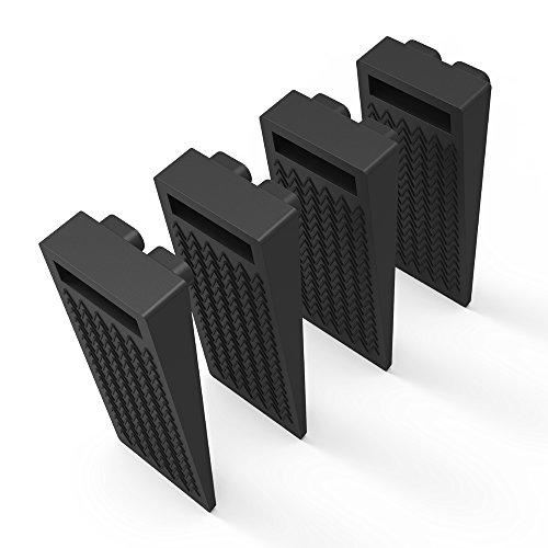 Door Stop Wedge, BearMoo Flexible Door Stopper Rubber(4 Pack)- Home Premium Smart Stackable Slip-Resistant Heavy Duty Design-100% Non-Toxic Odorless Doorstops Work on All Surfaces,Carpet/Floors(Black)