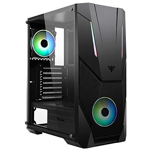 Itek SPACIRC VO - Case PC Gaming Middle Tower ATX, 2 Ventole da 12 cm ARGB in dotazione, 2xUSB3.2 - frontale ABS e traforato, pannello laterale in vetro temperato, nero