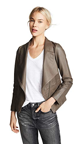 BB Dakota Damen Eastside Drape Fron Leather Jacket Lederjacke, Tabak-Braun, X-Klein