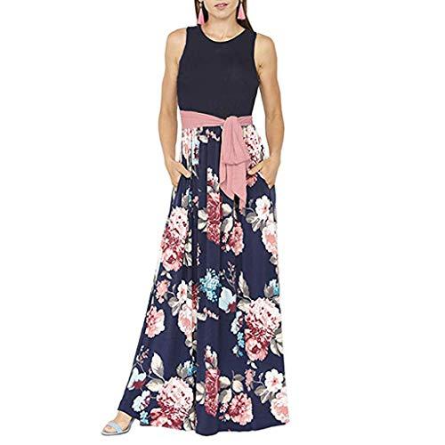 Best Deals! Hstore Women's Casual Split Maxi Dresses, Loose Pocket Long Dress Sleeveless O-Neck Belt...